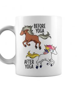 Horse and Unicorn Before Yoga After Yoga Coffee Mug