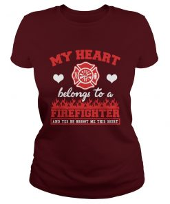 My Heart Belongs To A Firefighter Valentine's Day T-Shirt