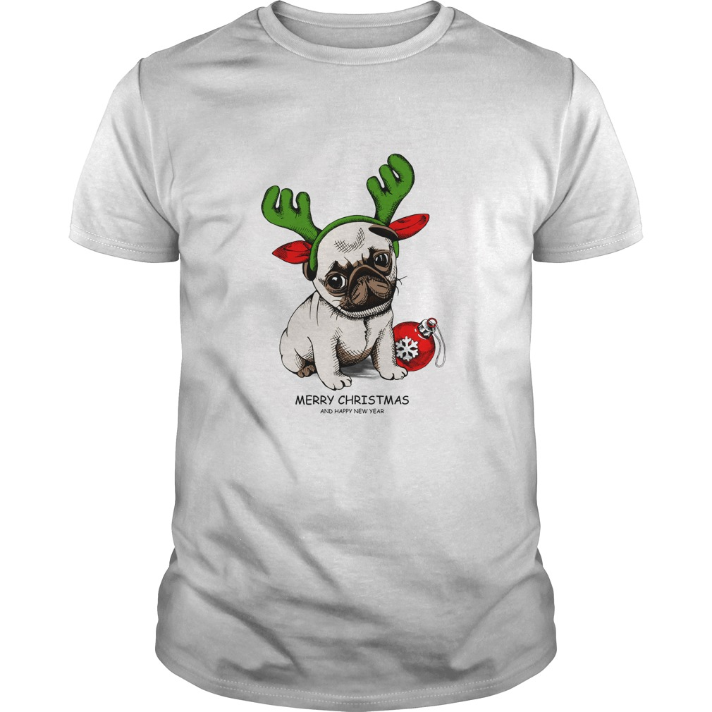 Puppy Pug Christmas And Happy New Year T-Shirt