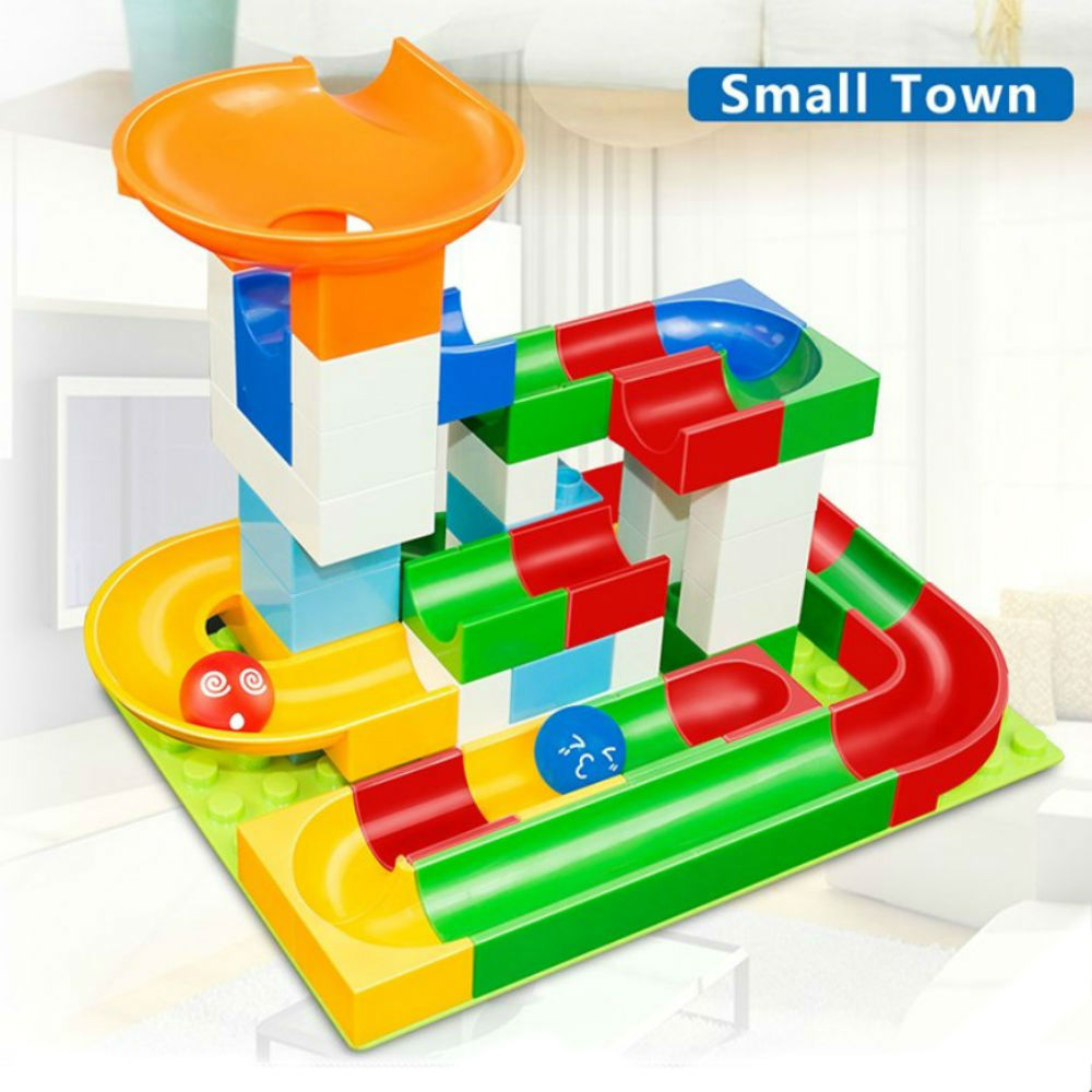 Marble Race Run Maze Ball Building Blocks Diy Construction Toy