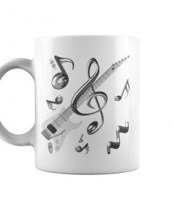Musical Notes Stripped Electric Guitar Mug